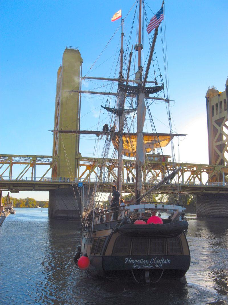 Hawaiian Chieftan at Sunset Old Sacramento Tower Bridge