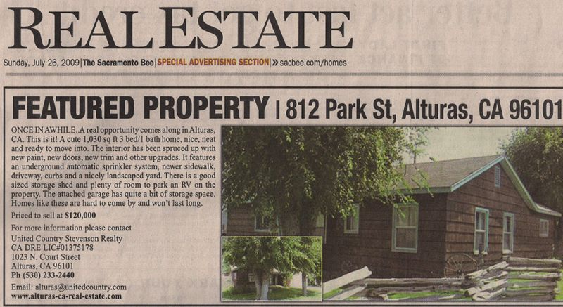 Alturas Featured Property From Sac Bee Sunday July 26