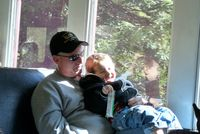 Mendocino County Fort Bragg Skunk Train 3 year old Brian and Dad David Enjoy a Moment Creidt Barbara Steinberg 2009 5