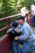 Mendocino County Fort Bragg Skunk Train 3 year old Brian and Dad David Enjoy a Moment Creidt Barbara Steinberg 2009 4