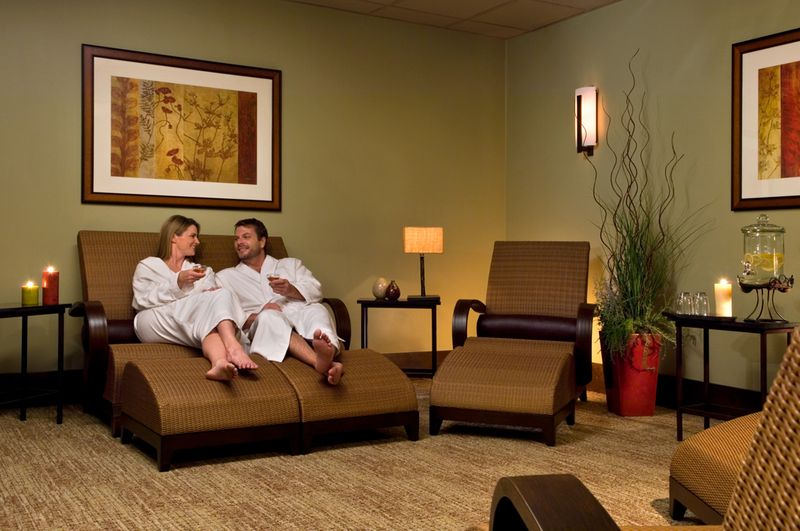 Couple enjoys a quiet moment in  the Relaxation Room at Ascent Spa Credit Tenaya Lodge at Yosemite