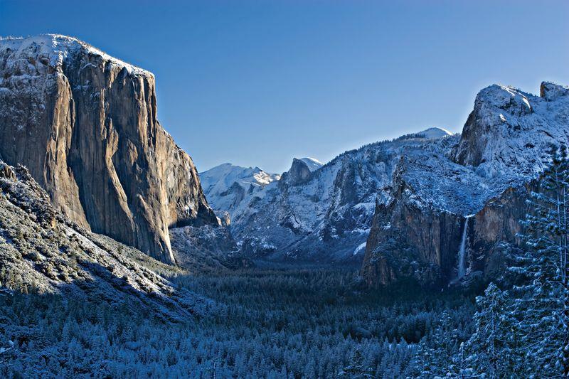 Iconic Tunnel View in Winter El Capitan Half Dome and Yosemite Falls Courtesy of Delaware North at Yosemite