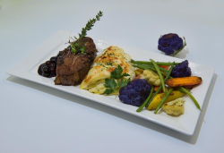 Lamb Loin Chops Celery Root Gratin seasonal Veg of the day (Capay Organic) featuring Frantoio EVO from Buckeye Creek