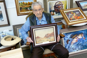 Carroll Thomas 99 Holds First Painting Done at 9 Credit Barbara Steinberg 2009
