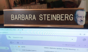 Barbara Steinberg nameplate with Fred Head Classic Memory circa 1990-something Credit AreYouThatWoman.com